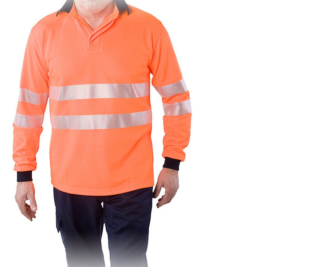 Polos de alta visibilidad fabricados con el tejido 625 Orange HV